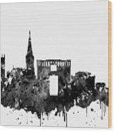 Montpellier Skyline-black Wood Print