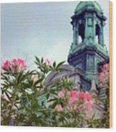 Montreal Bldg Among Flowers Wood Print
