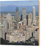 Montreal City Panorama From Mount Royal Quebec Canada Wood Print
