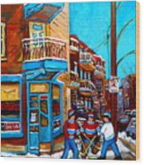 Montreal City Scene Hockey At Wilenskys Wood Print