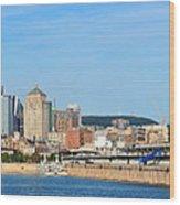 Montreal City Skyline Over River Panorama Wood Print