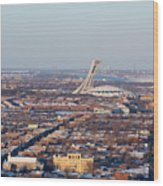 Montreal Cityscape With Olympic Stadium Wood Print