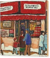 Montreal Hebrew Delicatessen Schwartzs By Montreal Streetscene Artist Carole Spandau Wood Print