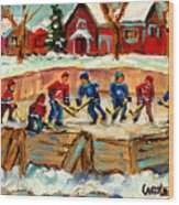 Montreal Hockey Rinks Urban Scene Wood Print