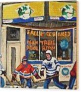 Montreal Poolroom Hockey Fans Wood Print by Carole Spandau