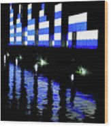 Montreal Port Night Wood Print