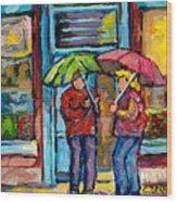 Montreal Rainy Day Paintings April Showers Umbrella Conversation At Wilensky's Deli C Spandau Quebec Wood Print