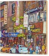 Montreal St.catherine Street Corner Peel Wood Print
