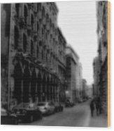 Montreal Street Black And White Wood Print