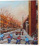 Montreal Street Hockey Game Wood Print