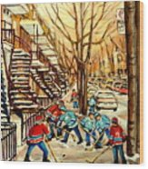 Montreal Street Hockey Paintings Wood Print