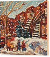 Montreal Street In Winter Wood Print