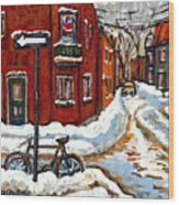 Montreal Street In Winter La Ville En Hiver Buy Montreal Paintings Petits Formats Peintures A Vendre Wood Print