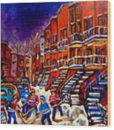 Montreal Street Scene Paintings Hockey On De Bullion Street   Wood Print