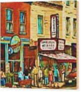 Montreal Streetscene Artist Carole Spandau Paints Schwartzs Main Street Hustle Bustle Wood Print