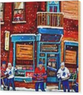Montreal Wilensky Deli By Carole Spandau Montreal Streetscene And Hockey Artist Wood Print