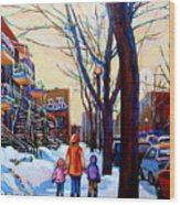 Montreal Winter Wood Print