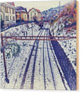 Montreux, Tracks In The City. Wood Print