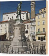 Monument And Statue Of Giuseppe Tartini At Tartini Square Piran  Wood Print