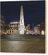 Monument On The Dam In Amsterdam Netherlands At Night Wood Print