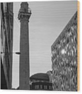 Monument To The Great Fire Of London Bw Wood Print