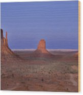Monument Valley At Dusk Wood Print