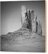 Monument Valley Camel Butte Black And White Wood Print