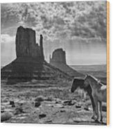 Monument Valley Horses Wood Print