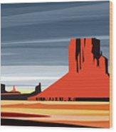 Monument Valley Sunset Digital Realism Wood Print