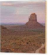Monument Valley Sunset Panorama Wood Print