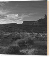Monument Valley View - Black And White Wood Print