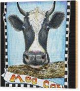 Moo Cow In Black Wood Print