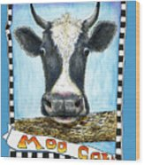 Moo Cow In Blue Wood Print