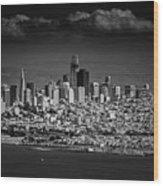 Moody Black And White Photo Of San Francisco California Wood Print