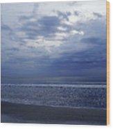 Moody Blue Beach Wood Print