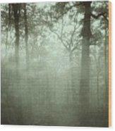 Moody Foggy Forest Wood Print