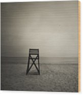 Moody Lifeguard Stand On Beach. Wood Print