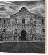 Moody Morning At The Alamo Bw Wood Print