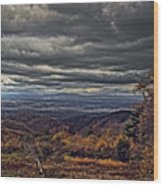 Moody Mountain View Wood Print