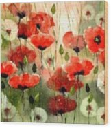 Moody Poppies In The Afternoon Wood Print