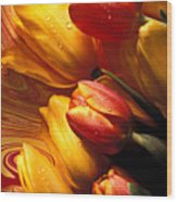 Moody Tulips Wood Print