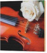Moody Violin And Rose  Wood Print