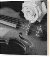Moody Violin And Rose In Black And White Wood Print