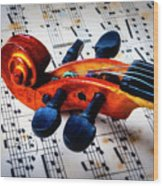 Moody Violin Scroll On Sheet Music Wood Print