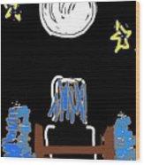 Moon And Beach Watcher On Martha's Vineyard Wood Print