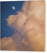 Moon And Cloud Wood Print