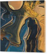 Moon And Fiance Wood Print