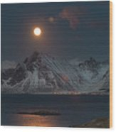 Moon And Mountains In Lofoten Wood Print