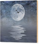 Moon And Sea Wood Print