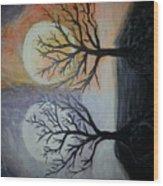 Moon And Sun Wood Print